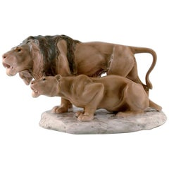 Bing & Grondahl Porcelain Figure in the Form of Lion and Lioness