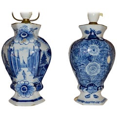 Pair of 18th Century Blue and White Delft Table Lamps