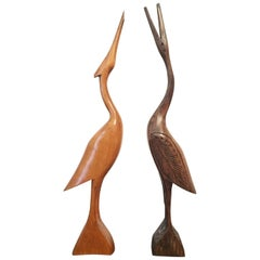 Herons, Two Wooden Statues