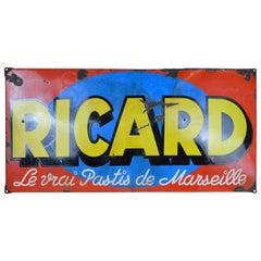 1930s Vintage French Enamel Metal Ricard Pastis Advertising Sign