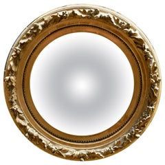 Early Water Gilded Acorn and Leaf Convex Mirror