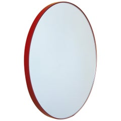 Silver Orbis Round Mirror with Red Frame