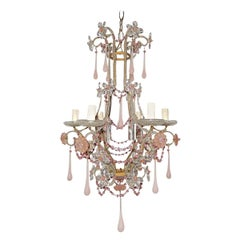 French Pink Opaline Murano Drops and Beads Beaded Chandelier