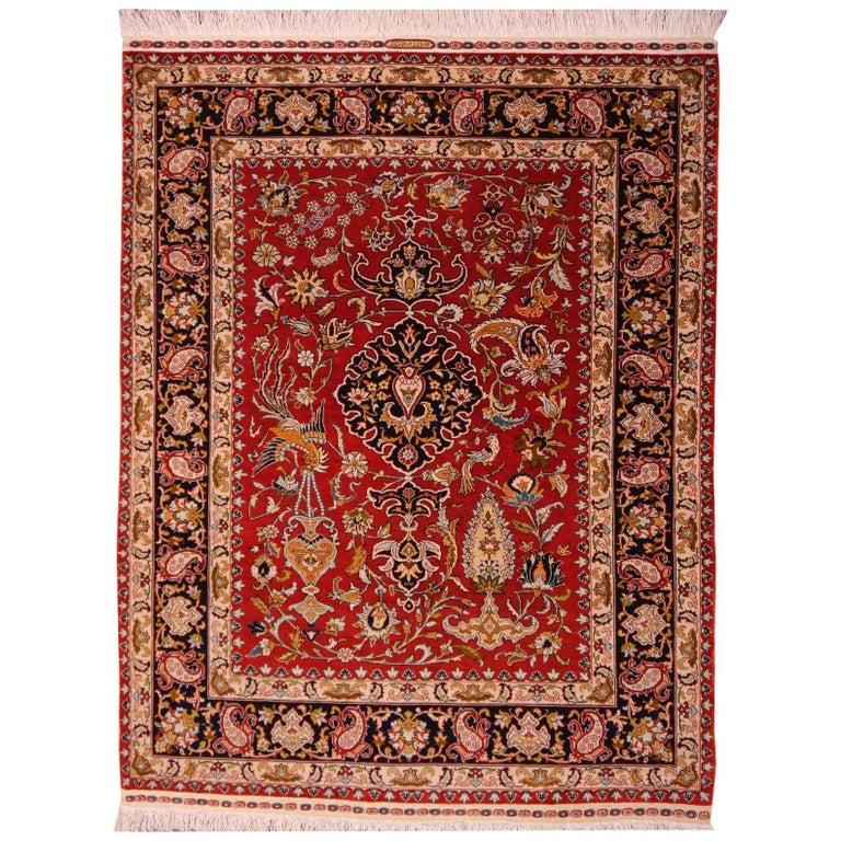 Pure Silk Hereke Ozipek Turkish Rug Signed For Sale