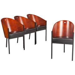Philippe Starck Modern Wood and Black Leather Chairs, 1980s