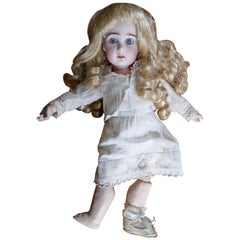 19th Century Character Doll with Wig and Clothes