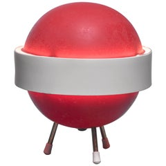 Red and White Stilux Table Lamp, Italy, 1950s