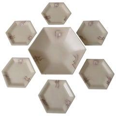 Art Deco Set of Ceramic Bowl and Plates, 1930s Modernist Design
