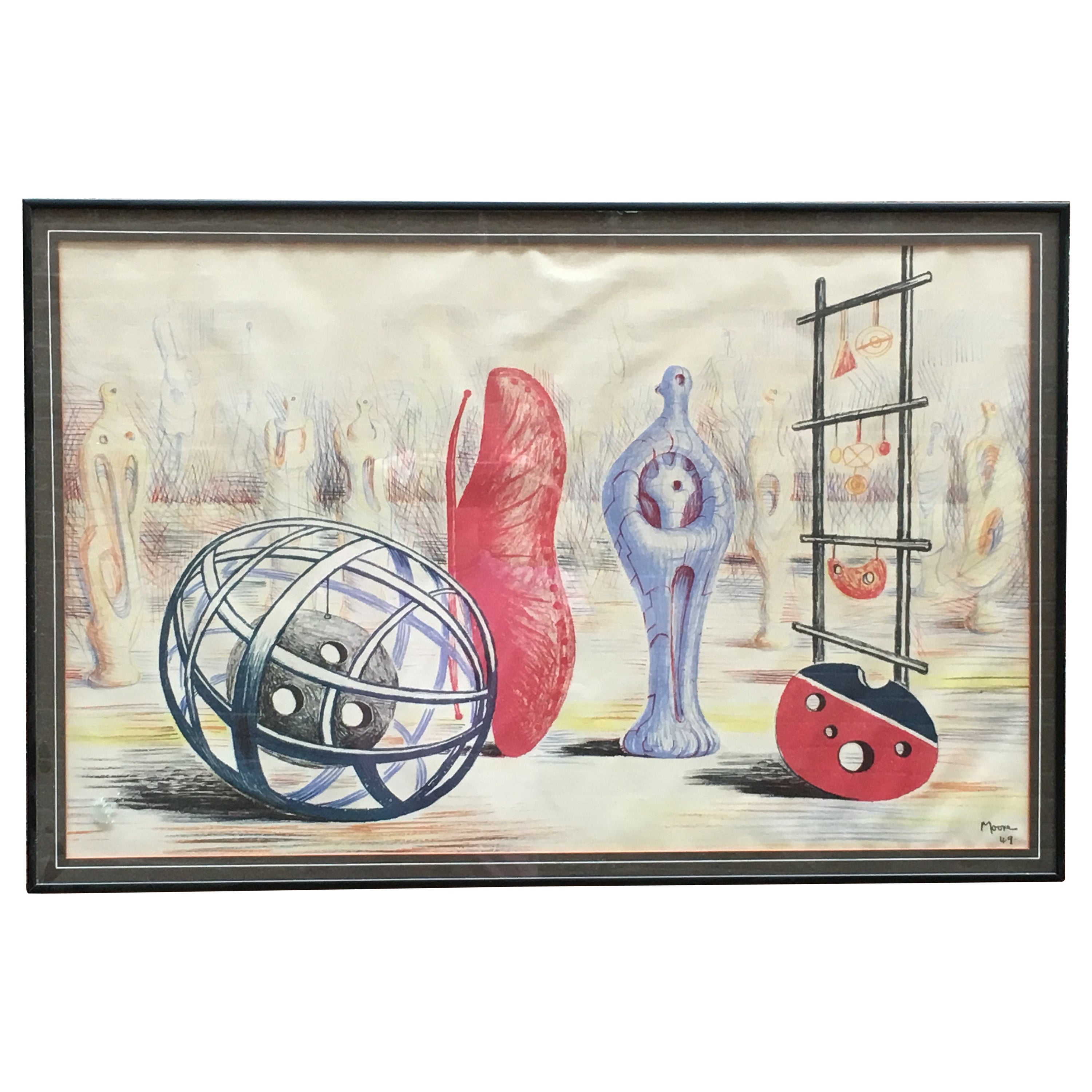 Henry Moore 1949 Sculptural Objects Lithograph