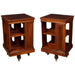 Pair of Edwardian Inlaid Revolving Bookcases