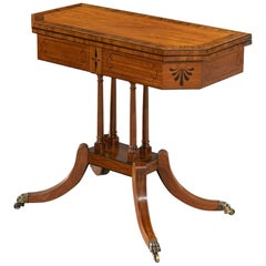 Late George III Sheraton Period Satinwood & Ebony Card Table of Small Proportion