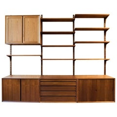 Midcentury Danish wall system in teak CADO by Poul Cadovius