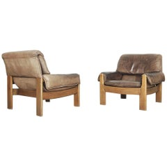 Danish Modern Leather Lounge Chairs, 1960s, Set of 2