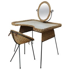 Wicker and Iron Dressing Table with Swiveling Mirror and His Chair, circa 1960s