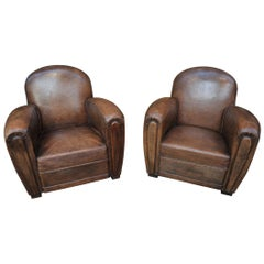 Pair of Leather Club Chairs, 1950s