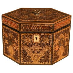 Late 18th Century Paper Scrollwork Tea Caddy