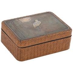 Japanese Meiji Period Box of Woven Cane, Lacquer, Silver & Copper