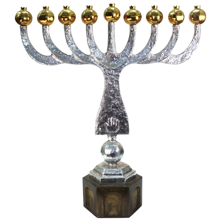 Oded Halahmy 'Round Light' Modern Bronze and Aluminium Cast Menorah For Sale