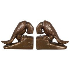 Copper-Plated Parrot Bookends by Armor Bronze, circa 1930