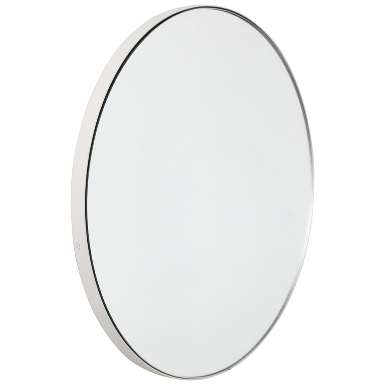 Silver Orbis Round Mirror with White Frame  For Sale