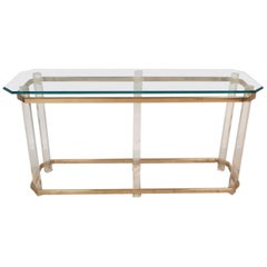 Mid-Century Modern Brass and Lucite Console Table by Charles Hollis Jones