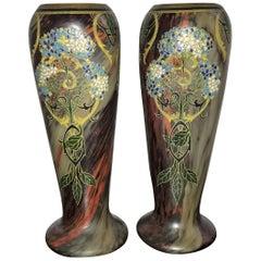 Pair of Large Art Nouveau Blown Glass and Enamel Vases by Legras, France