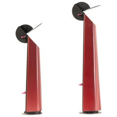 Pair of Red Gibigiana Lamps by Achille Castiglioni for Flos