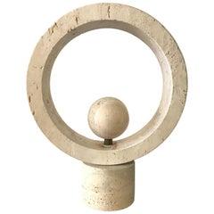 Midcentury Italian Travertine and Brass Kinetic Sculpture