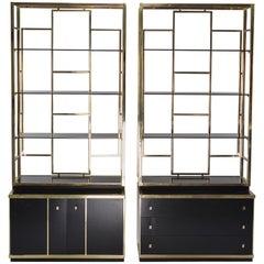 Pair of Romeo Rega Style Brass and Black Enamel Shelf Cabinets
