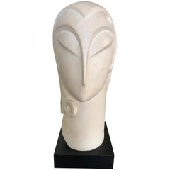 Postmodern Brancusi Style French Art Deco Moderne Plaster Head Bust Sculpture