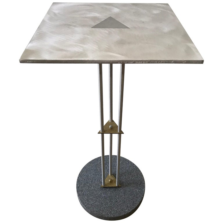 Postmodern Telephone Accent Occasional Side or End Table in Steel and Brass For Sale