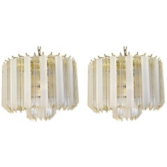 Pair of Hollywood Regency Lucite Triedri Prism Crystal Chandeliers