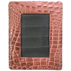 Embossed Alligator or Crocodile Leather Photo or Picture Frame, Pair Available