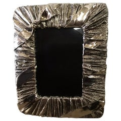 Whimsical Silver Photo or Picture Frame with a Ruched Fabric and Bow Motif