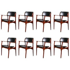 Set of Eight 1960s Erik Buch Armchairs in Rosewood