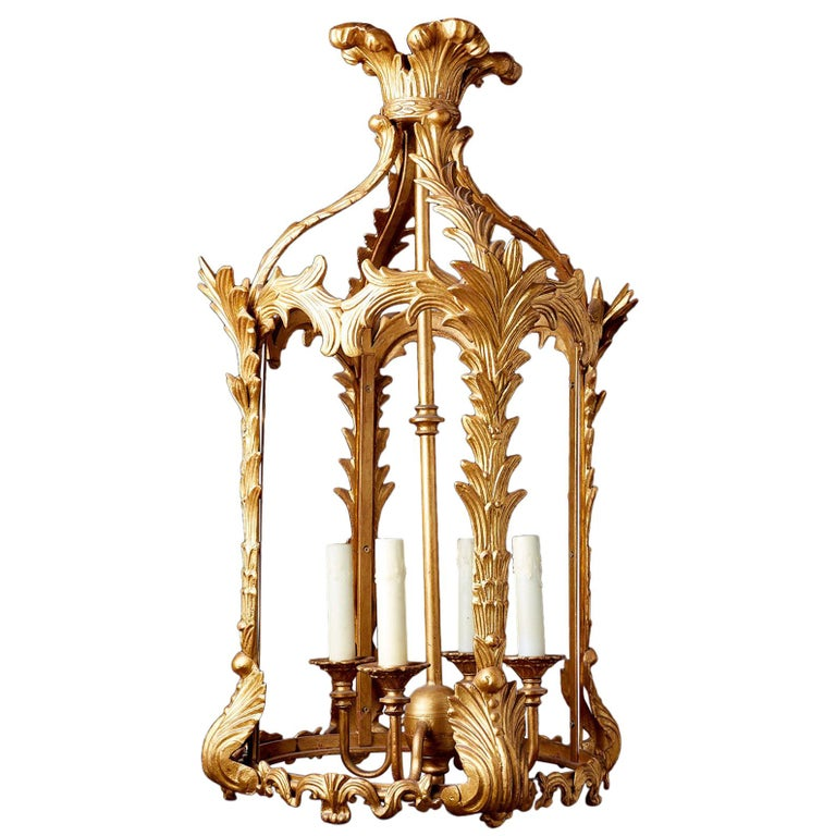 French Louis XVI Style Gilded Iron Pendant Lantern For Sale
