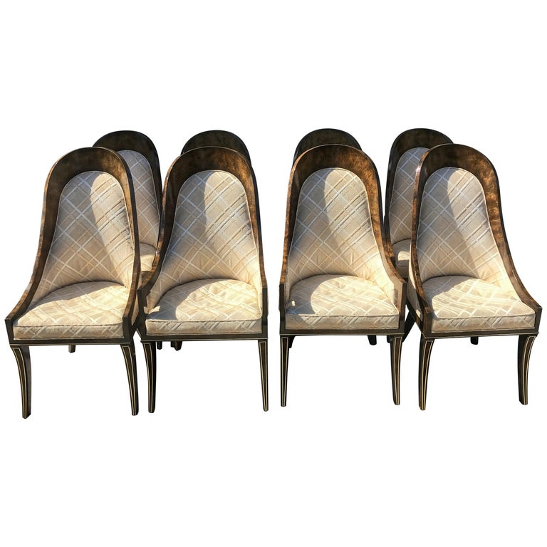 Set of Eight Mastercraft Amboyna and Brass Spoon Back Dining Room Chairs For Sale