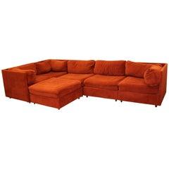 Contemporary Modern Orange 5-Piece Sectional Sofa & Ottoman Baughman Era 1980s