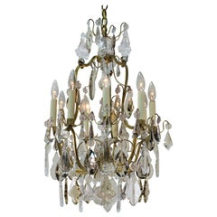 French 1930s Crystal and Bronze Chandelier.