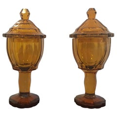 Pair of 19th Century Biedermeier Amber Panel Cut Glass Chalices