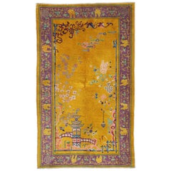 Antique Chinese Peking Rug with with Pagoda and Chinese Art Deco Style