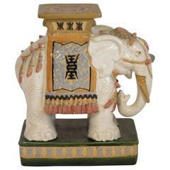 1960s Italian Ceramic Elephant Garden Stool