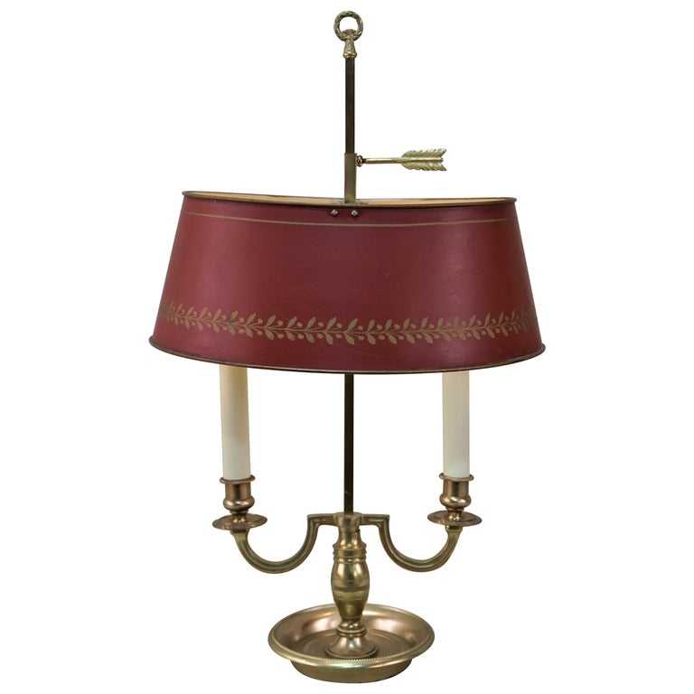 French Empire Style Bronze Bouillotte Table Lamp For Sale