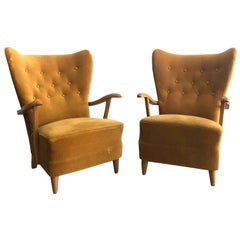 20th Century Pair of Swedish Wingback Lounge Chairs