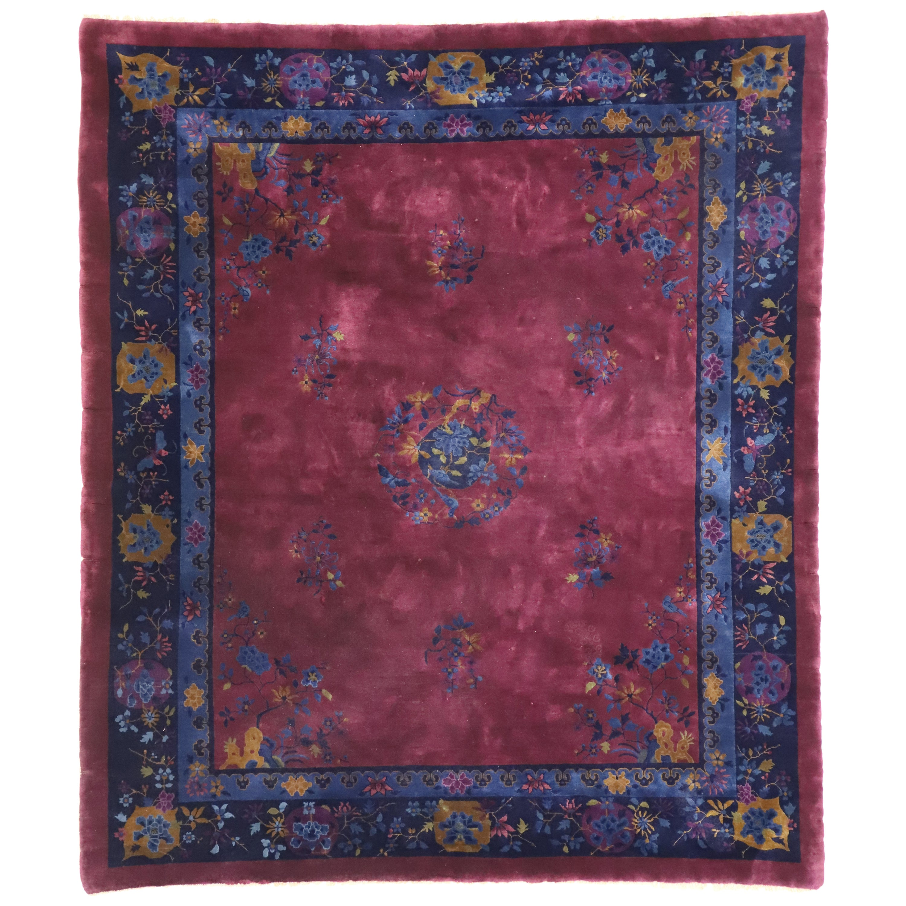 Antique Chinese Peking Rug with Art Deco Style