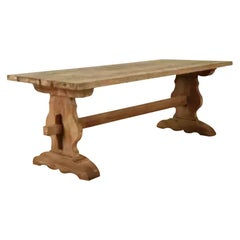 Antique French Oak Mortise and Tenon Farm Table with Central Stretcher