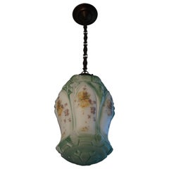 English Arts & Crafts Flowers Decorated Opaline Glass Pendant / Light Fixture