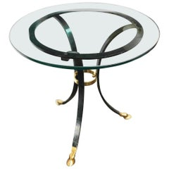 1970s Maison Jansen Style Metal and Glass Side Table