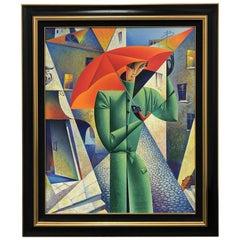"""Limited Edition Georgy Kurasov Canvas Painting """"Umbrellas of Saint Petersburg"""""""