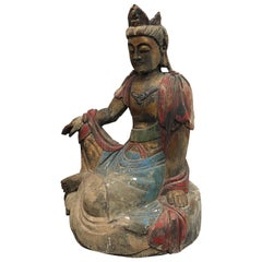 Hand Carved and Painted Wooden Buddha Statue